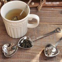 Wholesale 500pcs Stainless steel Heart Shaped Heart Shape Tea Infuser Strainer Filter Spoon Spoons Wedding Party Gift Favor
