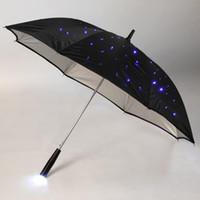 Wholesale 23 quot LED Light Rain Umbrella Blue LED Fully automatic Modes Stars Long handled Flashlight with LED Outside Creative