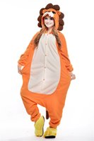 Cheap Unisex Adult Pajamas Cosplay Costume Animal Onesie Sleepwear Suit Button and zipper closure Comfortable, soft fleece Lion