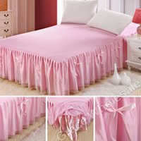 Cheap Free shipping Europe Princess Style Bed Skirts Bedding Sets Bowknot bedspread Mattress Cover Full Queen King size