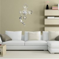 Wholesale DIY Bedroom Office Home Decoration Silver Round Mirror Glass Wall Clock Set Modern Circle Design Mirror Effect Decals dandys