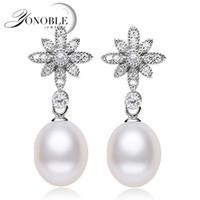 achat en gros de bijoux yonoble-Vente en gros-YONOBLE boucles d'oreilles perle naturelle pour les femmes blanches véritables boucles d'oreilles perle argent, 925 boucles d'oreilles en argent sterling bijoux cadeau d'anniversaire maman