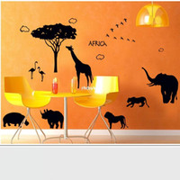 african style room - Wall stickers home decoration AY9186 African style animal elephant lion creative background bar black wall stickers glass stickers can be re