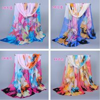 beach sarong pattern - New Style Women Floral Scarf Chinese Ink Paiting Pattern Scarves Sarongs Beach Fashion Scarf Mix Colors