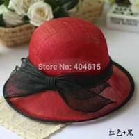 Wholesale noble lady summer party banqute wedding church luxury formal bowknot sinamay hats