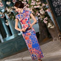 Wholesale Chinese silk Long Dress Evening Dress Qipao Phoenix flower Hotties Summer Short Sleeve Wedding Cheongsam For Women TZM