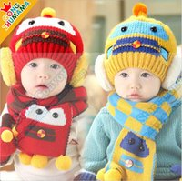 Wholesale 2PCS High Quality Children s Crochet hats Caps Scarf set Infants Autumn Winter hat Baby Girls Boys Woolen Yarn Hats Scarves fit M