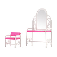 Wholesale Hot Girls Dressing Table Chair Accessories Set For Dolls Bedroom Furniture Toy