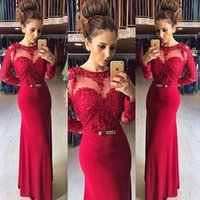 Cheap Red Evening Gowns With Long Sleeves Lace Top Chiffon Full Length Berta Prom Dresses 2015 Custom Made Party Vestidos Spring 2016