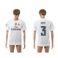 15-16 Nueva Temporada Real Madrid Soccer Jerseys blanco # 3 Pepe fútbol camisas camiseta de fútbol Descuento Uniforme Tailandia fútbol de calidad para los hombres