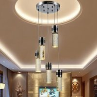 Wholesale Crystal Chandeliers Lamp Shade - Modern Brief Crystal Pendant Lamp Bubble Crystal Light with LED Bulb Cylinder Shade Droplight Chandelier Ceiling Light Bar Dining Room Light