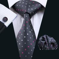 Plaza de bolsillo para hombre corbata de seda blanca rosada del punto Gemelos corbata Conjunto Jacquard Tejido del trabajo formal Reunión Ocio N-0901
