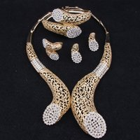 african jewelry - 18K Gold Plated Crystal Rhinestone Statement Necklace Set Fashion Women African Jewelry Set