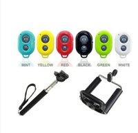 Wholesale Free DHL Extendable Handheld Self portrait Monopod selfie stick Photo Bluetooth Shutter Camera Remote Control monpod shutter clipJX