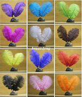 al por mayor avestruz pluma verde-Color de encargo de la pluma de las plumas de la pluma de los plumas de la pluma de las plumas de la pluma de la boa del banquete de boda de la boa de la pluma de DIY del color blanco de encargo 6-8inch 15-20cm