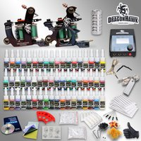 tattoo kits - Top Quality Professional Complete Tattoo Kits Machine Guns Color Inks OZ Bottle Tattoo Power Supply D189GD