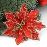 plastic ornament - 20 New Arrival cm Red Glitter Artificial Christmas Flowers Poinsettia Cheap Christmas Ornaments