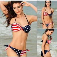 american flag bikini - New Fashion womens Super push up steel tube top halter neck swimwear bikini stars and stripes american flag