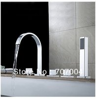 bath combo - New Chrome Polished Widespread Waterfall Roman Deck Mounted Bath Tub Tap Faucet Set Combo W Handheld Shower