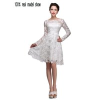 Wholesale Cheap Lace Long Sleeve Plus Size Prom Evening Dress White Stain Evening Gowns Knee Length Pageant Dresses Sexy Formal Short Party Dress