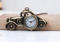antique car tags - Vine classic bronze alloy Unique design cartoon old car quartz children students pendant Necklace chain watch