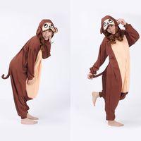 adult monkey onesie - Hot Sales Fleece Pajamas Brown Monkey Cosplay Costume Sleepwears Adult Onesie Unisex Women Men Pyjamas For Halloween Party Dress