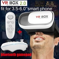 Wholesale cardboard HeadMount VR BOX Version VR Virtual D Glasses for quot quot Smart Phone bluetooth remote controller with retail package