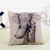 Wholesale Special Elephant Cotton Linen Square Vintage Throw Pillow Case Sofa Shell Cushion Cover Home decoration Supplies
