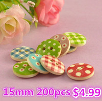 Wholesale 200pcs15mm hole Mixed Multi color polka dot small polka dot rustic plaid handmade diy accessories small wooden buttons