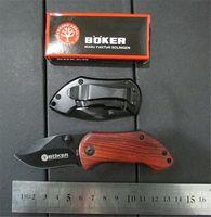 20pcs / lot, BOKER DA33 Pequeño Acero Negro de madera de mango rojo 440 56HRC cuchillos de hoja plegable de bolsillo cuchillo que acampa al por mayor!
