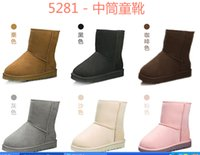 Wholesale 5281 Snow boots boy girl real cowhide boots waterp roof warm children s boots Fashionable boots for Kids