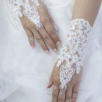Wholesale Elegant Beaded Lace Satin Short Bridal Gloves Fingerless Wedding Gloves White Ivory Wedding Accessories Wedding party