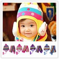Wholesale 6pcs Mixed Colors Knitting Cotton Rabbit Dots Style Soft Plush Ball Baby Child Kids Earflap Scarf Hat Set DJZ1