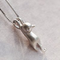 Wholesale Solid Sterling Silver Necklaces Cats Charm Fit Necklace Jewelry Pure Sterling Silver Kitty Pendant Necklace Lovers Gift