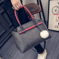 able bags - Simple Able Summer Women s PU Shell Bag Color Coarse Wool Ball Hand Shoulder Messenger Bag Handbags Purse Promotion