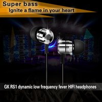 Wholesale gk rs1 silver metal headphone ear headphones bass headset phone headset stock a large number of sales