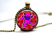 bear grateful dead - 10pcs The Grateful Dead Bear vision Necklace Glass Photo Cabochon Necklace3