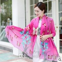 butterfly scarf silk - Butterfly Print Imitation Silk Scarf colors New Arrival B8