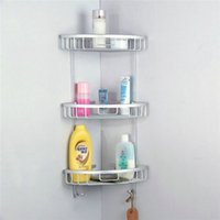 aluminum shower caddy - Space Aluminum Triangular Shower Caddy Shelf Bathroom Corner Rack Storage Stock Holder Basket Hanger Three Sizes