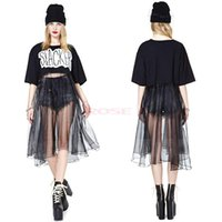 womens black dress shirt - 2015New Selling Punk Womens Black Letter Printed Dresses Splice Cotton Net Yarn Loose Women Long Sexy Lolita T Shirt Dress For Lady SV005200