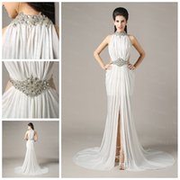 Wholesale 2015 Gorgeous Prom Dresses High Neck Beaded Backless Sexy Party Gowns Ivory Chiffon Sleeveless Front Side Party Evening Dress ZAHY CS05
