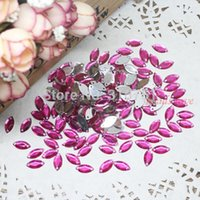 Wholesale Crafts And Scrapbooking Fuchsia Horse Eyes Acrylic Beads Hole Flatback Cabochon Buttons Scrapbooking x12mm w02392 Aa