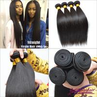 Wholesale 4Pcs g Virgin Human Hair Extensions Brazilian Virgin Hair Weave Bundles A Straight Cheap Hair Wefts DHL
