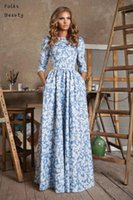 Wear to Work Summer Three Quarter 2015 Party Women summer dress new fashion Print Cotton Chiffon Lace Empire Fit and Flare long maxi dress