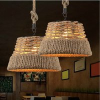 Wholesale 15 quot single pendant light Bar Rustic Candelabro Natural linen vintage rope chandelier light fixture Restaurant dining room retro rope lamp
