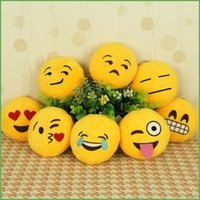 stuffed animal pillows - New Arrival cm Soft Emoji Smiley Emoticon Yellow Round Cushion Pillow Stuffed Plush Toy Doll