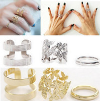 Cheap Wholesale-3pcs lot Fashion Vintage Punk Style Metal Gold Silver Plated Leaf Above Knuckle Hollow Out Leave Band Midi FingerJoint Set Ring