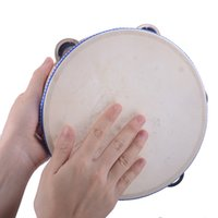 Wholesale 8 inch Hand Held Tambourine Drum Bell Birch Metal Jingles Percussion Musical Educational Toy Instrument for KTV Party Kids Games