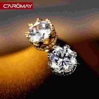 allergy card - Anti allergy and Chao Shipin LOM Earrings Korean fashion Zircon Earrings shine crown lovers temperament card
