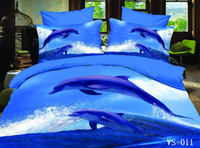3d bedding set king size - 4pcs Printed Blue Sea Dolphins Waves D Bedding Sets Full Queen King California King Size Flat Bed Sheet Or Fitted Bed Sheets